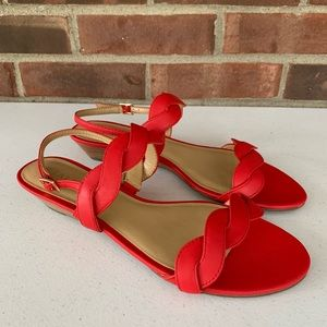New Talbots red leather strap low wedge sandals